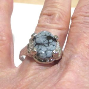 Shop Snowflake Obsidian Rings! Snowflake Obsidian Ring in a Silver Tone Setting Vintage Size 9.25 | Natural genuine Snowflake Obsidian rings, simple unique handcrafted gemstone rings. #rings #jewelry #shopping #gift #handmade #fashion #style #affiliate #ad