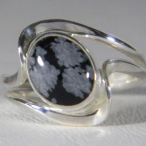 Shop Snowflake Obsidian Jewelry! Snowflake Obsidian Ring,Sterling Silver Snowflake Obsidian Ring,Double Wave Ring,wave ring,Silver Obsidian Ring,925,10x8mm oval cab,XXLDM | Natural genuine Snowflake Obsidian jewelry. Buy crystal jewelry, handmade handcrafted artisan jewelry for women.  Unique handmade gift ideas. #jewelry #beadedjewelry #beadedjewelry #gift #shopping #handmadejewelry #fashion #style #product #jewelry #affiliate #ad