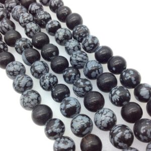 """Shop Snowflake Obsidian Round Beads! 10mm Natural Snowflake Obsidian Smooth Finish Round / ball Shaped Beads With 2.5mm Holes – 7.75"""" Strand (approx. 20 Beads) – Large Hole Beads 