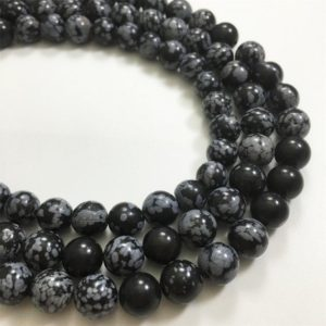 Shop Snowflake Obsidian Round Beads! 8mm Snowflake Obsidian Beads, Round Gemstone Beads, Wholesale Beads | Natural genuine round Snowflake Obsidian beads for beading and jewelry making.  #jewelry #beads #beadedjewelry #diyjewelry #jewelrymaking #beadstore #beading #affiliate #ad