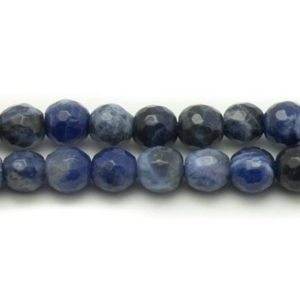 Shop Sodalite Faceted Beads! 5pc – beads of stone – Sodalite 8mm 4558550032812 faceted balls | Natural genuine faceted Sodalite beads for beading and jewelry making.  #jewelry #beads #beadedjewelry #diyjewelry #jewelrymaking #beadstore #beading #affiliate #ad
