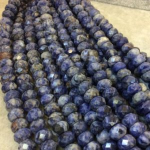 """Shop Sodalite Faceted Beads! 6mm x 10mm Natural Mixed Sodalite Faceted Rondelle Shaped Beads with 2.5mm Holes – 7.75"""" Strand (Approx. 31 Beads) – LARGE HOLE BEADS 