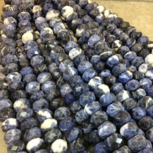 """Shop Sodalite Faceted Beads! 8mm x 12mm Natural Mixed Sodalite Faceted Rondelle Shaped Beads with 2.5mm Holes – 7.75"""" Strand (Approx. 25 Beads) – LARGE HOLE BEADS 