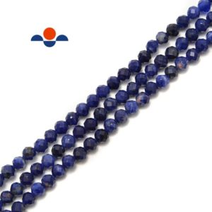 """Shop Sodalite Faceted Beads! Dark Blue Sodalite Faceted Round Beads Size 4mm 6mm 15.5"""" Strand 