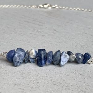 Shop Sodalite Necklaces! Dainty Sodalite Necklace, Healing Crystal Gift, Calming Stone, Blue Gemstone Necklace, Raw Sodalite Necklace, Handmade Crystal Necklace | Natural genuine Sodalite necklaces. Buy crystal jewelry, handmade handcrafted artisan jewelry for women.  Unique handmade gift ideas. #jewelry #beadednecklaces #beadedjewelry #gift #shopping #handmadejewelry #fashion #style #product #necklaces #affiliate #ad