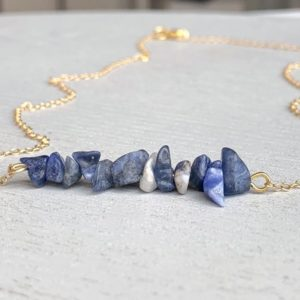 Shop Sodalite Necklaces! Raw Sodalite Necklace – Grounding Stone – Blue Crystal Necklace – Sodalite Jewelry – Gift For Mom – Rough Gemstone Necklace – Sodalite Gold | Natural genuine Sodalite necklaces. Buy crystal jewelry, handmade handcrafted artisan jewelry for women.  Unique handmade gift ideas. #jewelry #beadednecklaces #beadedjewelry #gift #shopping #handmadejewelry #fashion #style #product #necklaces #affiliate #ad