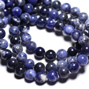 Shop Sodalite Bead Shapes! Wire 46pc – beads of stone – Sodalite balls 8 mm approx 39cm | Natural genuine other-shape Sodalite beads for beading and jewelry making.  #jewelry #beads #beadedjewelry #diyjewelry #jewelrymaking #beadstore #beading #affiliate #ad