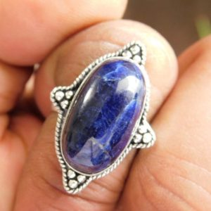 Shop Sodalite Rings! blue Sodalite Ring, Sodalite Jewelry Ring, Sterling Silver Ring, gift for her, blue stone ring, sodalite gemstone ring,(R-916)   Natural genuine Sodalite rings, simple unique handcrafted gemstone rings. #rings #jewelry #shopping #gift #handmade #fashion #style #affiliate #ad