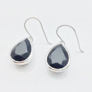 Shop Spinel Earrings! Black Spinel Earrings // 925 Sterling Silver // Rhodium Finish // Teardrop Setting // Dangly Spinel Earrings | Natural genuine Spinel earrings. Buy crystal jewelry, handmade handcrafted artisan jewelry for women.  Unique handmade gift ideas. #jewelry #beadedearrings #beadedjewelry #gift #shopping #handmadejewelry #fashion #style #product #earrings #affiliate #ad
