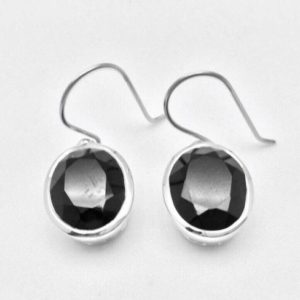 Shop Spinel Earrings! Black Spinel Earrings / / 925 Sterling Silver / / Non Tarnishing Rhodium Finish / / Oval Setting / / Dangly Black Spinel Earrings | Natural genuine Spinel earrings. Buy crystal jewelry, handmade handcrafted artisan jewelry for women.  Unique handmade gift ideas. #jewelry #beadedearrings #beadedjewelry #gift #shopping #handmadejewelry #fashion #style #product #earrings #affiliate #ad