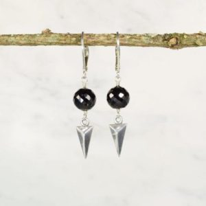 Shop Spinel Earrings! Worn on Scandal, Black Spinel Earrings / August Birthstone Earrings / Sterling Silver Earrings / Delicate Earrings, Dainty Earrings | Natural genuine Spinel earrings. Buy crystal jewelry, handmade handcrafted artisan jewelry for women.  Unique handmade gift ideas. #jewelry #beadedearrings #beadedjewelry #gift #shopping #handmadejewelry #fashion #style #product #earrings #affiliate #ad