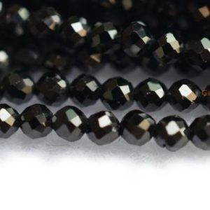 """Shop Spinel Beads! 15.5"""" Black spinal 2mm/4mm round faceted beads, small black semi-precious stone,small DIY jewelry beads, jewelry supply 