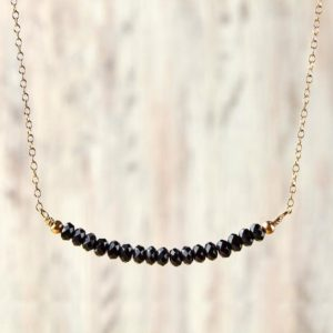 Shop Spinel Necklaces! Black spinel necklace August birthstone necklace Black diamond necklace Beaded necklace Spinel Jewelry Ideas Gift For Her In Valentine | Natural genuine Spinel necklaces. Buy crystal jewelry, handmade handcrafted artisan jewelry for women.  Unique handmade gift ideas. #jewelry #beadednecklaces #beadedjewelry #gift #shopping #handmadejewelry #fashion #style #product #necklaces #affiliate #ad