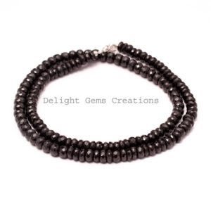 Shop Spinel Necklaces! Black Spinel Beaded Necklace, 6mm Black Spinel Facted Rondelle Bead Necklace, Sterling Silver, Black Bead Necklace, 20 Inches Long Necklace | Natural genuine Spinel necklaces. Buy crystal jewelry, handmade handcrafted artisan jewelry for women.  Unique handmade gift ideas. #jewelry #beadednecklaces #beadedjewelry #gift #shopping #handmadejewelry #fashion #style #product #necklaces #affiliate #ad