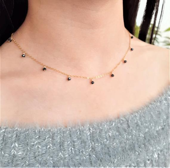 Worn On Riverdale, Black Spinel Necklace / Simple Gold Necklace / Delicate Layering Necklace / Dainty Everyday Necklace