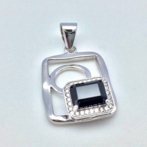 Shop Spinel Pendants! Black Spinel Pendant with CZ Accent // 925 Sterling Silver // Rhodium Finish // Small Hammered Geometric Shape | Natural genuine Spinel pendants. Buy crystal jewelry, handmade handcrafted artisan jewelry for women.  Unique handmade gift ideas. #jewelry #beadedpendants #beadedjewelry #gift #shopping #handmadejewelry #fashion #style #product #pendants #affiliate #ad