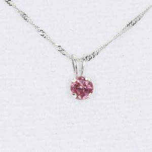 Shop Spinel Pendants! Pink Spinel Pendant, August Birthstone, Genuine Untreated 4.5 Mm Faceted Round Gem, 14kt White Gold Pendant, 10kt White 18 Inch Gold Chain | Natural genuine Spinel pendants. Buy crystal jewelry, handmade handcrafted artisan jewelry for women.  Unique handmade gift ideas. #jewelry #beadedpendants #beadedjewelry #gift #shopping #handmadejewelry #fashion #style #product #pendants #affiliate #ad