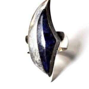 Shop Dumortierite Rings! Sterling Silver Dumortierite Crescent Abstract Elongated Ring 37mm Size 7 | Natural genuine Dumortierite rings, simple unique handcrafted gemstone rings. #rings #jewelry #shopping #gift #handmade #fashion #style #affiliate #ad