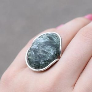 Shop Seraphinite Rings! Sterling Silver Large Oval Seraphinite Ring, Oval Gemstone Ring, Sterling Silver Oval Statement Ring, Seraphinite Jewelry, Green Jewelry   Natural genuine Seraphinite rings, simple unique handcrafted gemstone rings. #rings #jewelry #shopping #gift #handmade #fashion #style #affiliate #ad