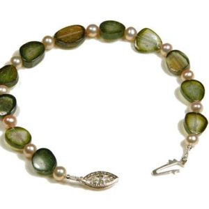 Sterling Silver Pearl & Green Tourmaline Slice Bracelet | Natural genuine Green Tourmaline bracelets. Buy crystal jewelry, handmade handcrafted artisan jewelry for women.  Unique handmade gift ideas. #jewelry #beadedbracelets #beadedjewelry #gift #shopping #handmadejewelry #fashion #style #product #bracelets #affiliate #ad