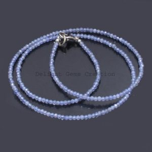 Shop Tanzanite Necklaces! Natural Tanzanite Beaded Necklace 2mm Tanzanite Faceted Round Beads Necklace Tanzanite Gemstone Necklace, Minimalist Tiny Beads Necklace | Natural genuine Tanzanite necklaces. Buy crystal jewelry, handmade handcrafted artisan jewelry for women.  Unique handmade gift ideas. #jewelry #beadednecklaces #beadedjewelry #gift #shopping #handmadejewelry #fashion #style #product #necklaces #affiliate #ad