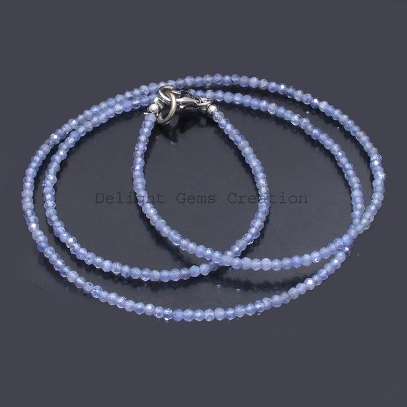 Natural Tanzanite Beaded Necklace 2mm Tanzanite Faceted Round Beads Necklace Tanzanite Gemstone Necklace, Minimalist Tiny Beads Necklace