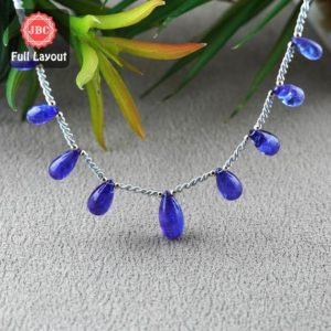 Shop Tanzanite Bead Shapes! Natural Tanzanite 10.5-16mm Smooth Drops Shape Gemstone Beads / Approx. 9 Pieces On 8 Inch Long Layout / Jbc-et-156789 | Natural genuine other-shape Tanzanite beads for beading and jewelry making.  #jewelry #beads #beadedjewelry #diyjewelry #jewelrymaking #beadstore #beading #affiliate #ad