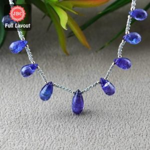 Shop Tanzanite Bead Shapes! Natural Tanzanite 10-15.5mm Smooth Drops Shape Gemstone Beads / Approx. 9 Pieces on 8 Inch Long Layout / JBC-ET-156783 | Natural genuine other-shape Tanzanite beads for beading and jewelry making.  #jewelry #beads #beadedjewelry #diyjewelry #jewelrymaking #beadstore #beading #affiliate #ad