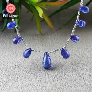Shop Tanzanite Bead Shapes! Natural Tanzanite 11-19mm Smooth Drops Shape Gemstone Beads / Approx. 9 Pieces On 8 Inch Long Layout / Jbc-et-156785 | Natural genuine other-shape Tanzanite beads for beading and jewelry making.  #jewelry #beads #beadedjewelry #diyjewelry #jewelrymaking #beadstore #beading #affiliate #ad