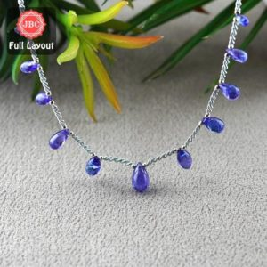 Shop Tanzanite Bead Shapes! Natural Tanzanite 7-12mm Smooth Drops Shape Gemstone Beads / Approx. 11 Pieces on 9 Inch Long Layout / JBC-ET-156794 | Natural genuine other-shape Tanzanite beads for beading and jewelry making.  #jewelry #beads #beadedjewelry #diyjewelry #jewelrymaking #beadstore #beading #affiliate #ad
