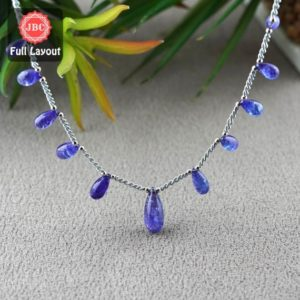 Shop Tanzanite Bead Shapes! Natural Tanzanite 9.5-17mm Smooth Drops Shape Gemstone Beads / Approx. 11 Pieces On 9 Inch Long Layout / Jbc-et-156793 | Natural genuine other-shape Tanzanite beads for beading and jewelry making.  #jewelry #beads #beadedjewelry #diyjewelry #jewelrymaking #beadstore #beading #affiliate #ad