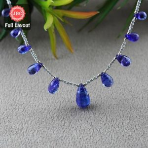 Shop Tanzanite Bead Shapes! Natural Tanzanite 9.5-18.5mm Smooth Drops Shape Gemstone Beads / Approx. 11 Pieces On 9 Inch Long Layout / Jbc-et-156791 | Natural genuine other-shape Tanzanite beads for beading and jewelry making.  #jewelry #beads #beadedjewelry #diyjewelry #jewelrymaking #beadstore #beading #affiliate #ad