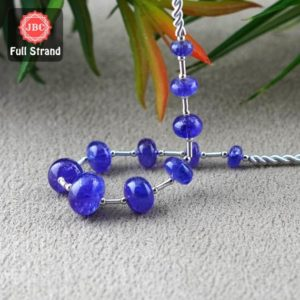 Shop Tanzanite Rondelle Beads! Natural Tanzanite 6.5-13mm Smooth Rondelle Shape Gemstone Beads / Approx. 11 Pieces on 8 Inch Long Layout / JBC-ET-156709 | Natural genuine rondelle Tanzanite beads for beading and jewelry making.  #jewelry #beads #beadedjewelry #diyjewelry #jewelrymaking #beadstore #beading #affiliate #ad