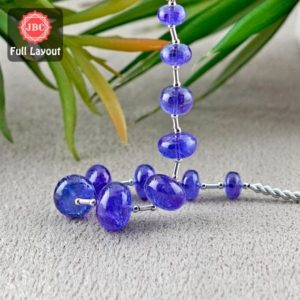 Shop Tanzanite Rondelle Beads! Natural Tanzanite 8-14.5mm Smooth Rondelle Shape Gemstone Beads / Approx. 11 Pieces on 8 Inch Long Layout / JBC-ET-156707 | Natural genuine rondelle Tanzanite beads for beading and jewelry making.  #jewelry #beads #beadedjewelry #diyjewelry #jewelrymaking #beadstore #beading #affiliate #ad