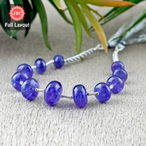 Shop Tanzanite Rondelle Beads! Natural Tanzanite 8-15mm Smooth Rondelle Shape Gemstone Beads / Approx. 11 Pieces on 8 Inch Long Layout / JBC-ET-156703 | Natural genuine rondelle Tanzanite beads for beading and jewelry making.  #jewelry #beads #beadedjewelry #diyjewelry #jewelrymaking #beadstore #beading #affiliate #ad