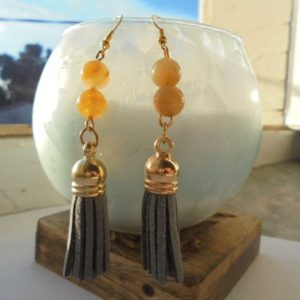 Shop Kunzite Earrings! Tassels and Kunzite earrings yellow stones for Lithotherapy | Natural genuine Kunzite earrings. Buy crystal jewelry, handmade handcrafted artisan jewelry for women.  Unique handmade gift ideas. #jewelry #beadedearrings #beadedjewelry #gift #shopping #handmadejewelry #fashion #style #product #earrings #affiliate #ad