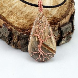 Shop Healing Gemstone & Crystal Pendants! Teardrop Cabochon Picture Jasper Tree of Life Pendant Raw Copper | Natural genuine Gemstone pendants. Buy crystal jewelry, handmade handcrafted artisan jewelry for women.  Unique handmade gift ideas. #jewelry #beadedpendants #beadedjewelry #gift #shopping #handmadejewelry #fashion #style #product #pendants #affiliate #ad