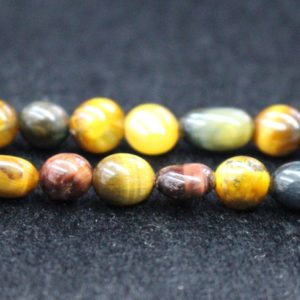 """Shop Tiger Eye Chip & Nugget Beads! Natural Three-Color Tigereye Chip Beads,Chip Beads,6x8mm 8x10mm Blue/Red/Yellow Tigereye Chip Nugget Beads,One Strand 15"""",Tigereye Beads. 