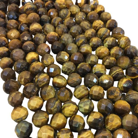 """10mm Natural Brown Tiger Eye Faceted Round/ball Shaped Beads With 2.5mm Holes - 7.75"""" Strand (approx. 20 Beads) - Large Hole Beads"""