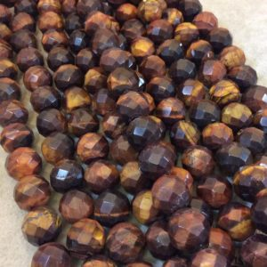 "Shop Tiger Eye Faceted Beads! 12mm Natural Red Tiger Eye Faceted Finish Round/Ball Shaped Beads with 2.5mm Holes – 7.75"" Strand (Approx. 18 Beads) – LARGE HOLE BEADS 