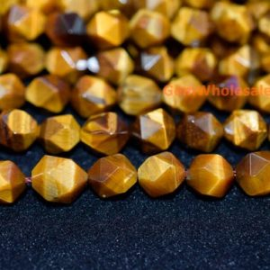"Shop Tiger Eye Faceted Beads! 15.5"" Yellow tiger eye faceted beads 8mm/10mm, high quality yellow color semi-precious stone, DIY beads, jewelry supply 