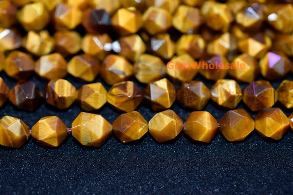 """15.5"""" Yellow Tiger Eye Faceted Beads 8mm/10mm, High Quality Yellow Color Semi-precious Stone, Diy Beads, Jewelry Supply"""