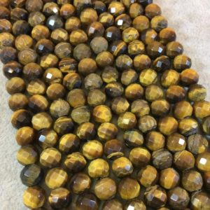 "Shop Tiger Eye Faceted Beads! 8mm Natural Brown Tiger Eye Faceted Round/Ball Shaped Beads with 2.5mm Holes – 7.75"" Strand (Approx. 25 Beads) – LARGE HOLE BEADS 