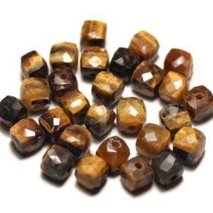 Shop Tiger Eye Faceted Beads! Stone – faceted Cube 5-6mm Tiger eye – 8741140020191 bead 1pc- | Natural genuine faceted Tiger Eye beads for beading and jewelry making.  #jewelry #beads #beadedjewelry #diyjewelry #jewelrymaking #beadstore #beading #affiliate #ad