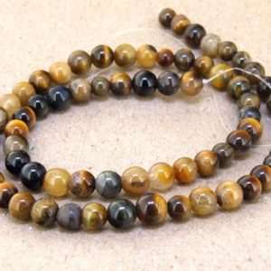 """Shop Tiger Eye Bead Shapes! One Full Strand — Charm AB  Yellow Tiger Eye Stone Gemstone Beads— 6mm —-about 66Pieces—- 15.5"""" in length 