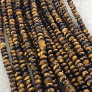 """Shop Tiger Eye Rondelle Beads! 5mm X 8mm Smooth Natural Brown Tiger's Eye Rondelle / disc Shaped Beads With 1mm Holes – Sold By 15.75"""" Strands (approximately 76 Beads) 