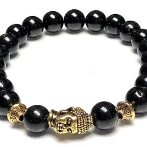 8mm Black & Gold Tourmaline bracelet Crystal healing Buddha bracelet jewelry reiki | Natural genuine Gemstone bracelets. Buy crystal jewelry, handmade handcrafted artisan jewelry for women.  Unique handmade gift ideas. #jewelry #beadedbracelets #beadedjewelry #gift #shopping #handmadejewelry #fashion #style #product #bracelets #affiliate #ad