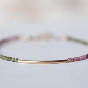 Shop Tourmaline Bracelets! Mini Tourmaline bracelet | dainty tourmaline jewelry | Micro faceted 2mm stones | 14k gold fill tube | gift for her | mixed multi | Natural genuine Tourmaline bracelets. Buy crystal jewelry, handmade handcrafted artisan jewelry for women.  Unique handmade gift ideas. #jewelry #beadedbracelets #beadedjewelry #gift #shopping #handmadejewelry #fashion #style #product #bracelets #affiliate #ad