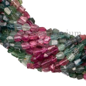 Shop Tourmaline Chip & Nugget Beads! Multi Tourmaline Faceted Nugget Beads, Multi Tourmaline Faceted Beads, Multi Tourmaline Nugget Beads, Multi Tourmaline Beads, Fancy Beads | Natural genuine chip Tourmaline beads for beading and jewelry making.  #jewelry #beads #beadedjewelry #diyjewelry #jewelrymaking #beadstore #beading #affiliate #ad