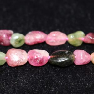 """Shop Tourmaline Chip & Nugget Beads! Natural Multi Tourmaline Chip Beads, chip Beads, 6x8mm Multi Tourmaline Chip Nugget Beads, one Strand 15"""", multicoloured Tourmaline Beads. 
